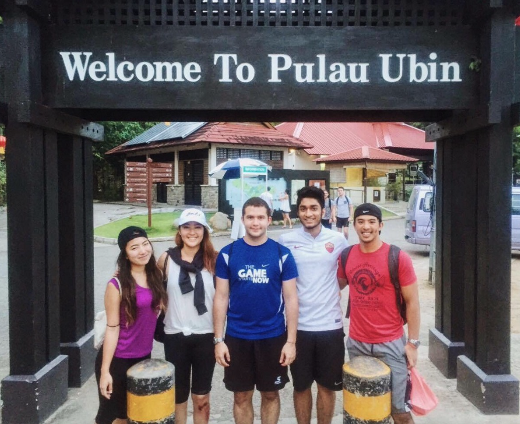 Emily and friends at Pulau Ubin, an island northeast of mainland Singapore
