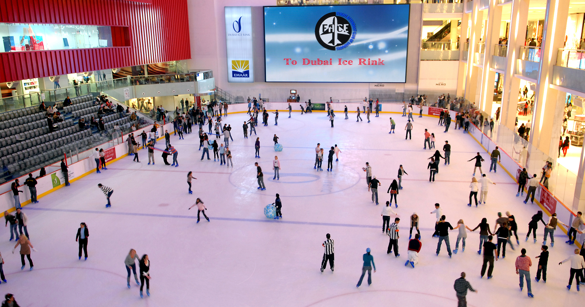 students all over the ice rink