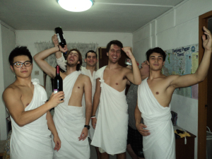 Will dressing in togas get us in free to the clubs in Singapore? Oh yeah...